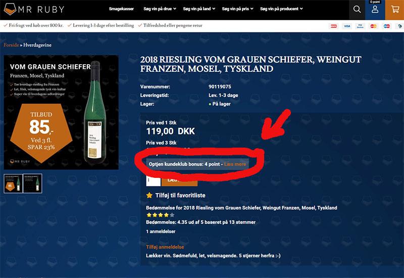 Billedet viser en produktside på www.mr-ruby.dk. Feltet med antal optjente bonuspoint er markeret med rødt